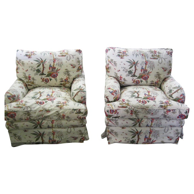 Vintage Toile Club Chairs - Pair - Image 1 of 7