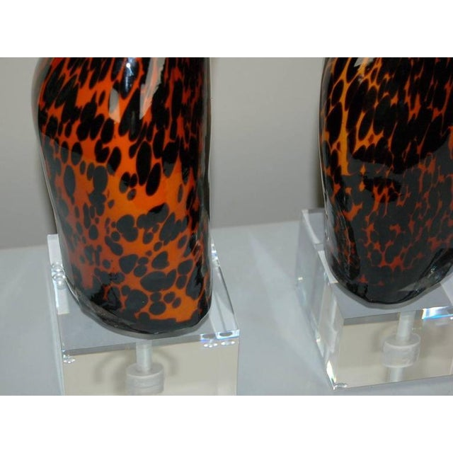 1980s Venus Murano Glass Table Lamps Leopard Spots For Sale - Image 5 of 10