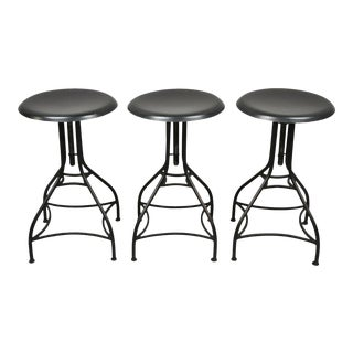 3 Wrought Iron Adjustable American Industrial Counter Bar Stools For Sale
