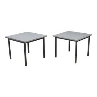 1970s Mid Century Modern Marble and Chrome End Tables - a Pair For Sale