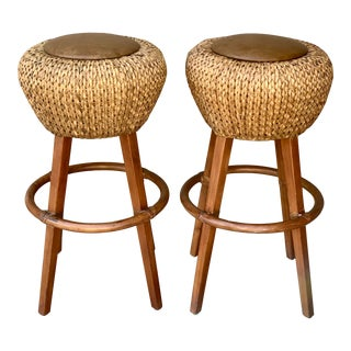 Palecek Rattan and Leather Barstools- a Pair For Sale