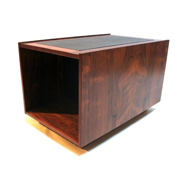 Animal Skin 1960s Bornholm Danish Rosewood & Leather Storage Side Tables- a Pair For Sale - Image 7 of 11
