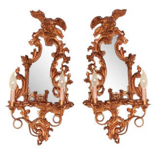 1990s Italian Hand Carved Wood 2 Light Sconces - a Pair For Sale