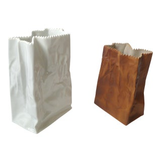 Tapio Wirkkala Porcelain Paper Bag Vases For Sale