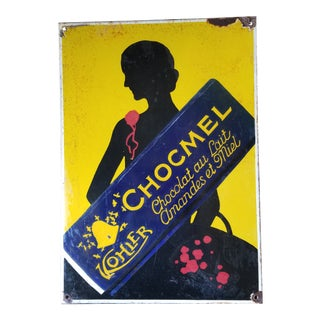 Antique Enamel Chocolate Sign For Sale
