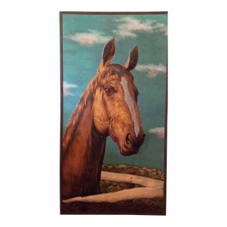 1980s Horse 3-D Bas Relief Fabric Painting For Sale
