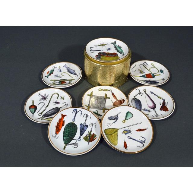 Piero Fornasetti Piero Fornasetti La Pesca Fishing Lures Coaster Set With Original Box For Sale - Image 4 of 13