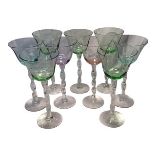 Vintage Hand Blown Colored Rope Twist Romanian Wine Goblets - Set of 9