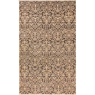 Cryena Modern Kymberly Charcoal/Brown Wool & Viscouse Rug - 5'2 X 7'6 For Sale