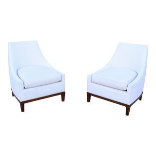 French Mid-Century Style Slipper Lounge Chairs by Jonas Upholstery - a Pair For Sale