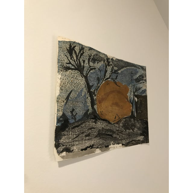 Mid Century Japanese Painting on handmade paper. Due to the homemade character of this product, there is a hole in the...