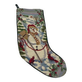 Needlepoint Stocking With Snowman Motif For Sale