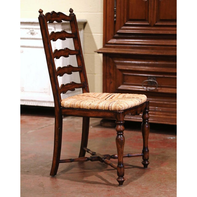 Brown Country French Carved Walnut Ladder Back Chairs With Rush Seat, Set of Six For Sale - Image 8 of 11
