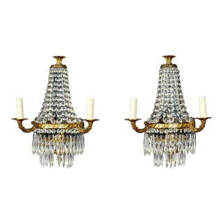 Vintage Empire Style Brass Crystal Waterfall Sconces, 1940s - Pair For Sale