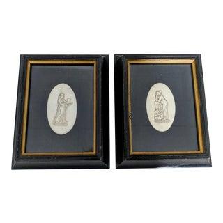 A Pair- Vintage Framed Intaglios For Sale