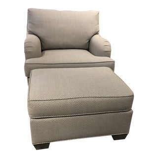Traditional Swaim Furniture Chair and Ottoman For Sale