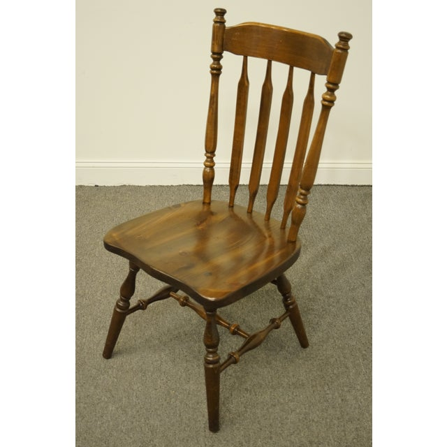 Ethan Allen Late 20th Century Ethan Allen Antiqued Pine Old Tavern Cattail Back Dining Side Chair For Sale - Image 4 of 10