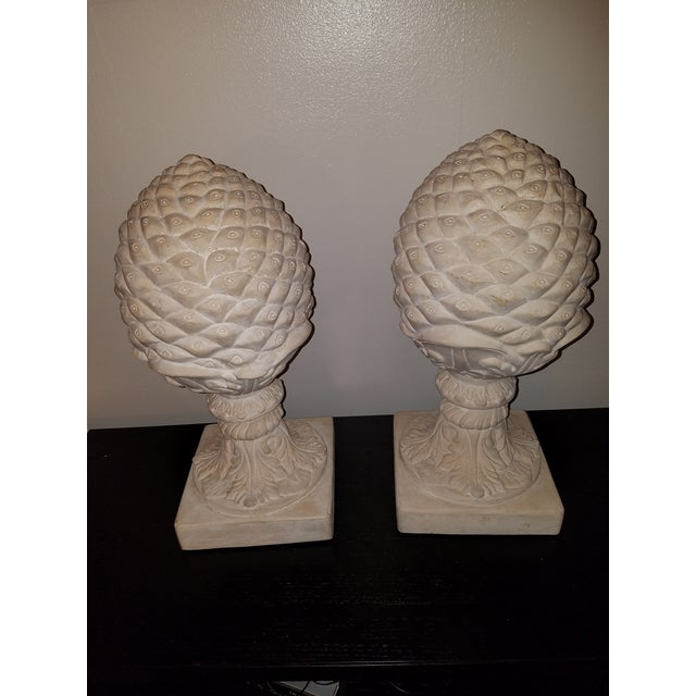 Architectural cast plaster pine cones for indoors or garden. Perfect for a traditional style home.
