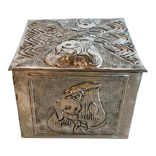 Vintage Figurative Silver Repose Trinket Box For Sale