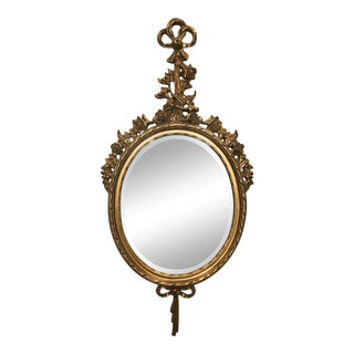 Vintage Baroque Oval Beveled Mirror Giltwood Frame For Sale