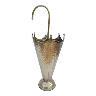 Vintage Hollywood Regency Brass Umbrella Stand .