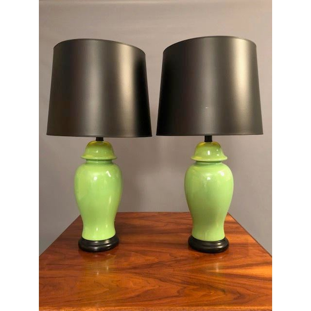 Mid-Century Green Porcelain Table Lamps - a Pair For Sale - Image 4 of 9