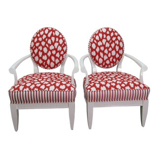 Oval-back Chrome & Upholstered in Chairs- a Pair For Sale