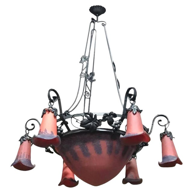 French Art Deco Red and Blue Chandelier - Image 1 of 6