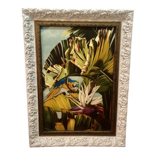 1990s Monumental Parrot Botanical Oil Painting For Sale