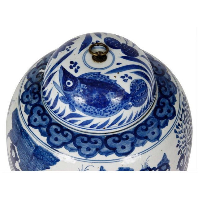 The beautiful deep blue color of this pair of ginger jars sets them apart from others. These beauties, depicting a...