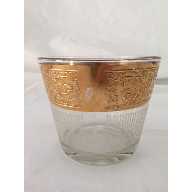 1960s Hollywood Recency Rose Gold & Clear Glass Ice Bucket For Sale - Image 4 of 6