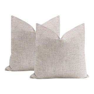 """22"""" Metallic Linen Platinum Pillows - a Pair For Sale"""