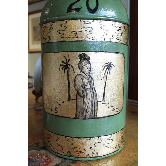 Chinoiserie Green & Gilt Decorated Tôle Tea Canister Lamps - A Pair For Sale - Image 3 of 8