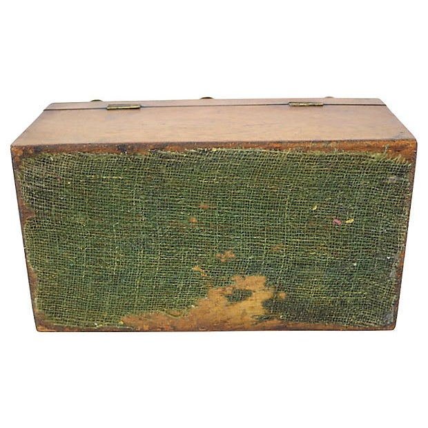 Metal Antique English Tea Box For Sale - Image 7 of 8