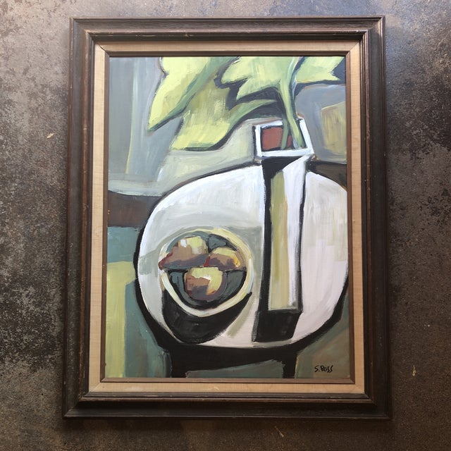 Original Contemporary Stewart Ross Modernist Still Life Painting Vintage Frame For Sale In Philadelphia - Image 6 of 6