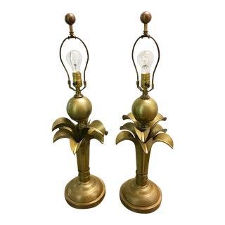 Vintage Antique Brass Art Deco Lamps - A Pair For Sale