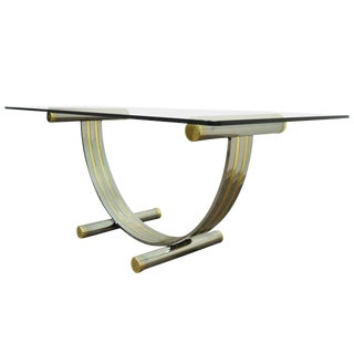1970s Art Deco Chrome Brass and Glass Arch Dining Table For Sale
