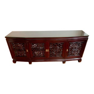 Chinese Carved Rosewood Sideboard Credenza For Sale
