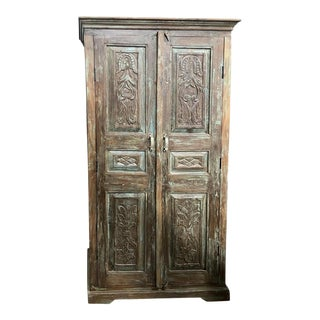 Antique Rustic Carved Blue Patina Cabinet For Sale