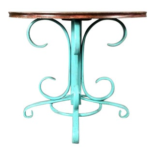 Austrian Teal-Painted Bentwood and Laminate Café Table, 1930s