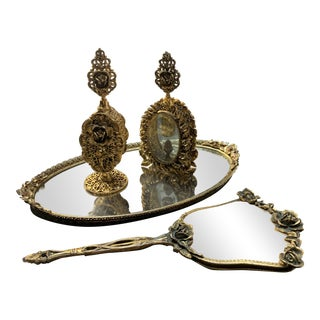 Ornate Gold Ormolu Vanity Set - 4 Pieces For Sale