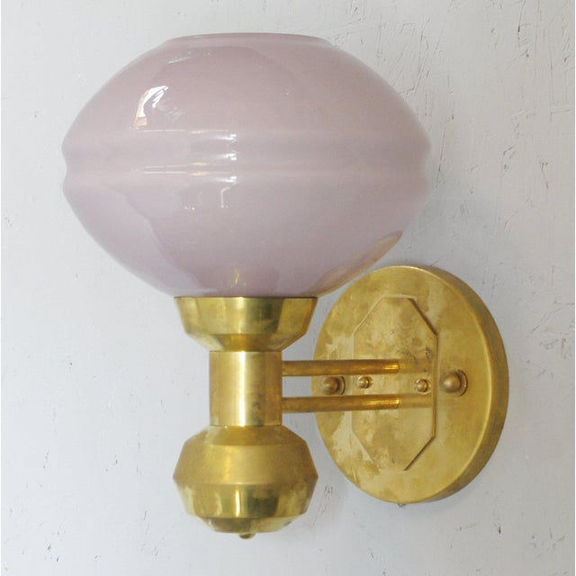 Italian Italian Soft Purple Murano Glass and Brass Sconces - a Pair For Sale - Image 3 of 8