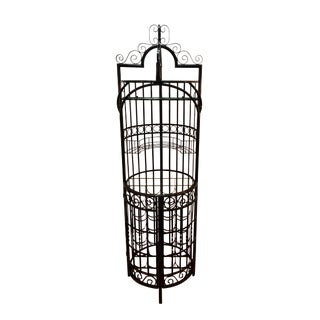 1960s Mid Century Modern Wrought Iron Arthur Umanoff Style Wine Rack For Sale
