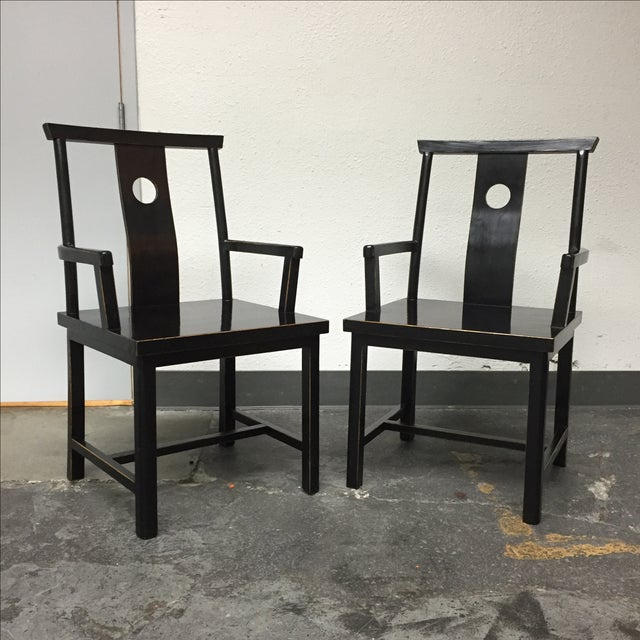 Black Solid Wood Lacquered Chairs - A Pair - Image 2 of 10