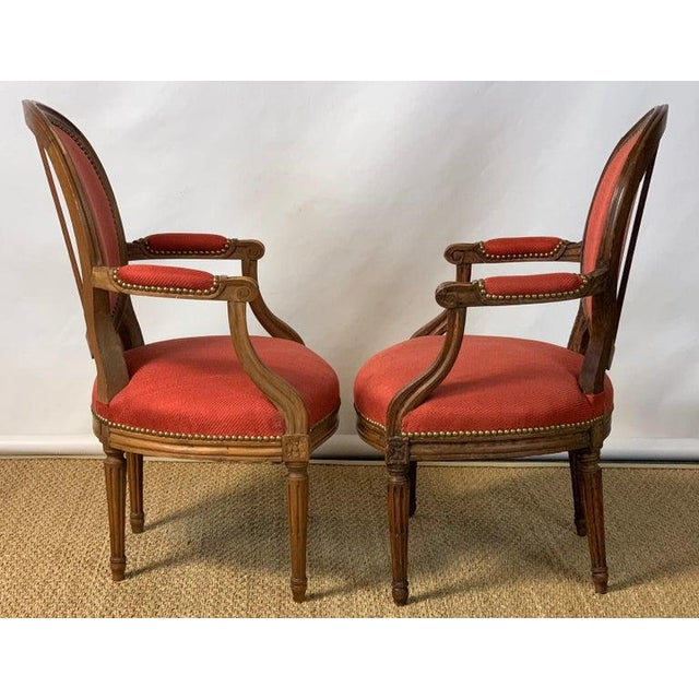 French Pair of French Louis XVI Beechwood Fauteuils For Sale - Image 3 of 12
