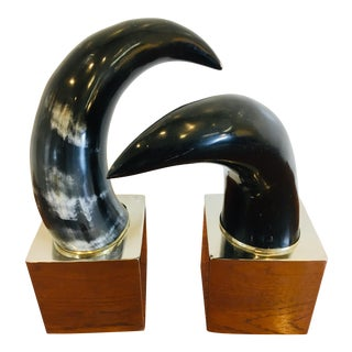 1990s Mounted Natural Steer Hide Horns - a Pair For Sale