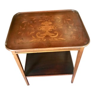 Vintage Italian Inlay Two-Tier Glass-Top Tray Table For Sale