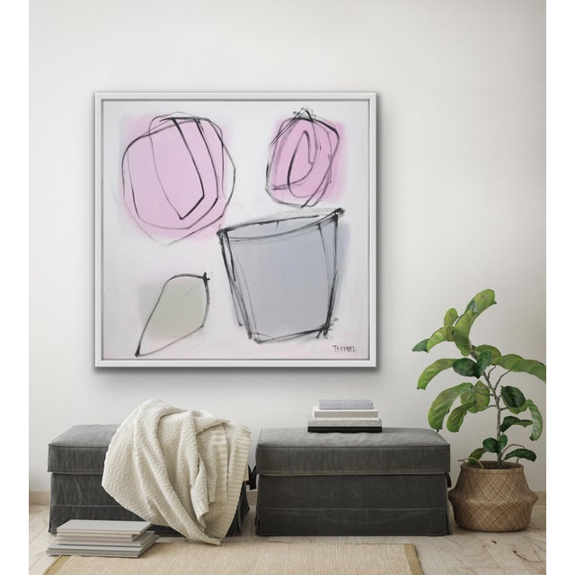 """Paint Sarah Trundle, """"Grey Pot"""", Contemporary Abstract Floral Painting For Sale - Image 7 of 9"""