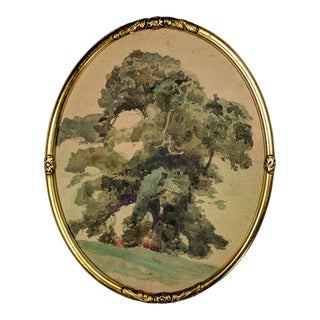 Turn-Of-The-Century Watercolor Painting of Oak Tree, Signed and Dated 1902 With Gold Oval Frame