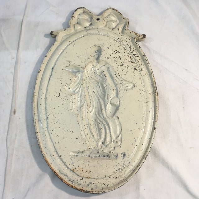 Victorian Antique Style Cast Iron Neoclassical Woman Relief Wall Plaque For Sale - Image 3 of 7